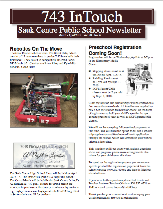 March April Newsletter is Online